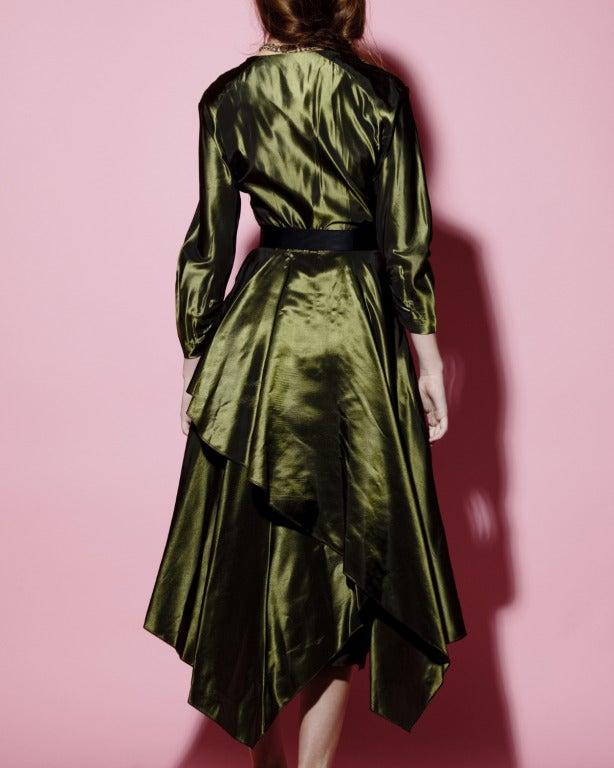 Vintage 40s Iridescent Olive Silk Taffeta Asymmetric Dress 4