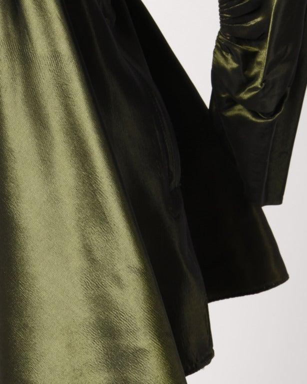 Vintage 40s Iridescent Olive Silk Taffeta Asymmetric Dress 6