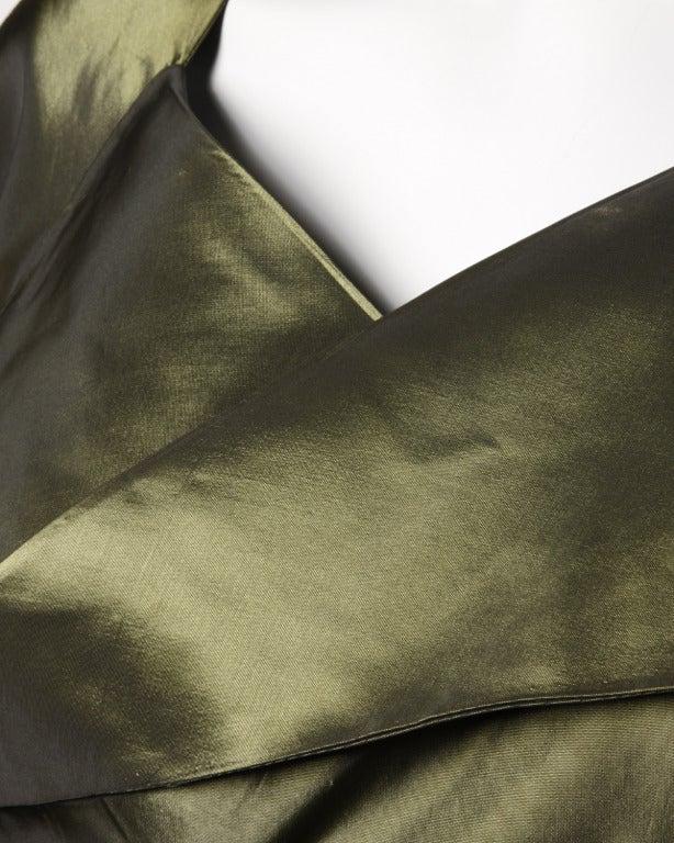 Vintage 40s Iridescent Olive Silk Taffeta Asymmetric Dress 7