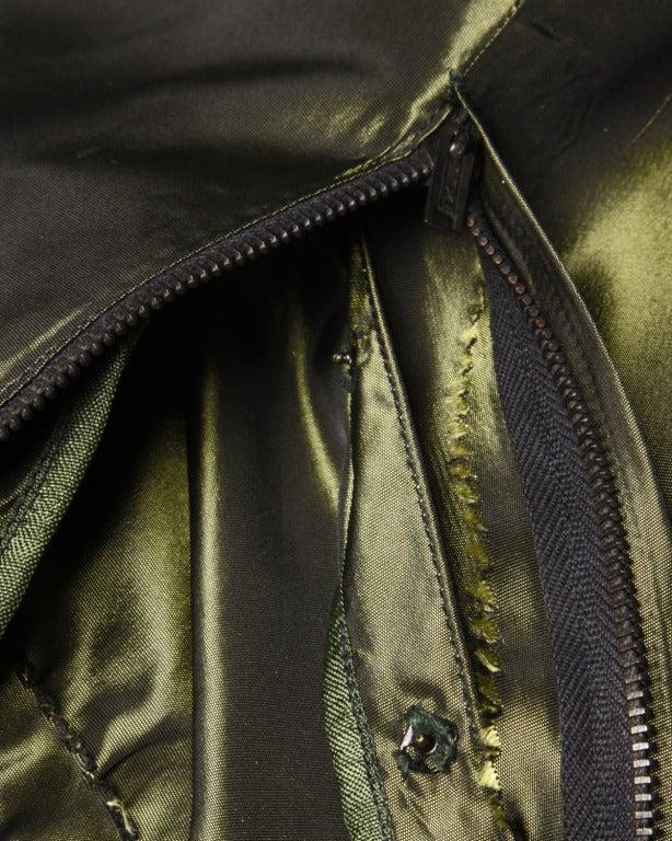 Vintage 40s Iridescent Olive Silk Taffeta Asymmetric Dress 8