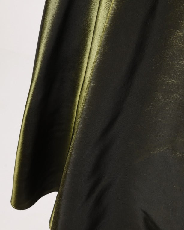 Vintage 40s Iridescent Olive Silk Taffeta Asymmetric Dress 9