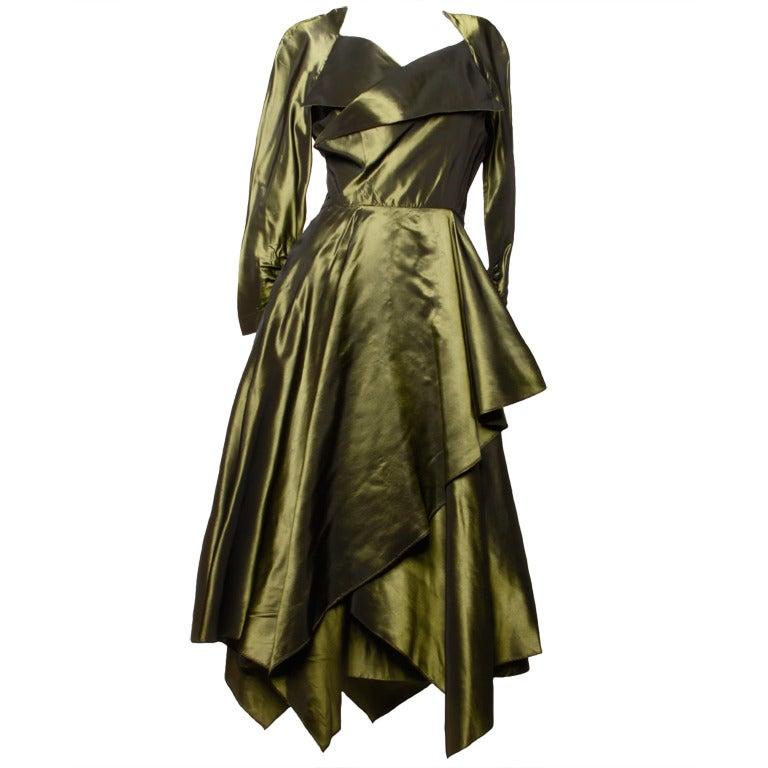 Vintage 40s Iridescent Olive Silk Taffeta Asymmetric Dress 1