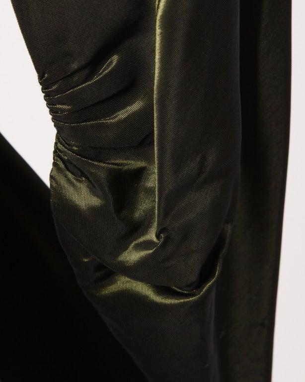 Vintage 40s Iridescent Olive Silk Taffeta Asymmetric Dress 10