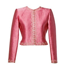Mary McFadden Couture Vintage 80s Pink Quilted Silk Embroidered Jacket