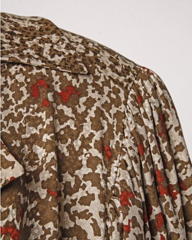 Brown Lanvin Silk Print Wrap Top Blouse Vintage 80s 1980s For Sale