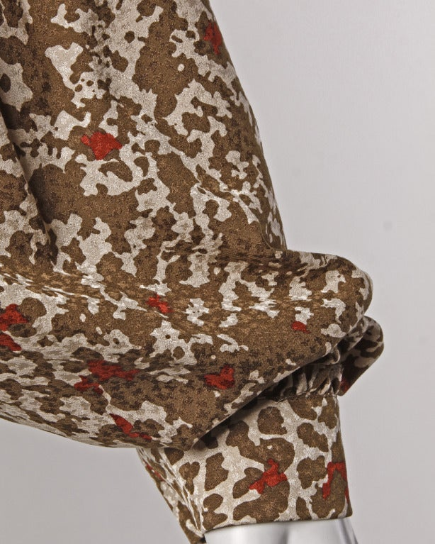 Lanvin Silk Print Wrap Top Blouse Vintage 80s 1980s In Excellent Condition For Sale In Sparks, NV