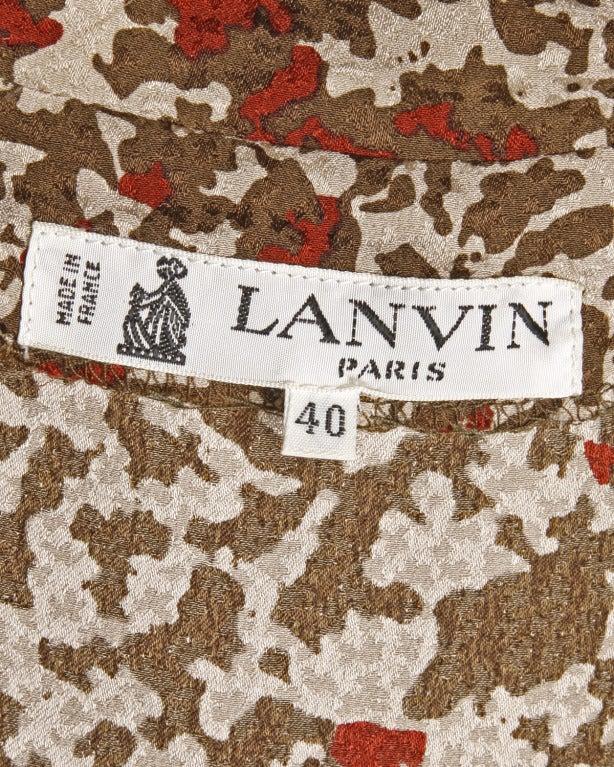 Lanvin Silk Print Wrap Top Blouse Vintage 80s 1980s For Sale 2