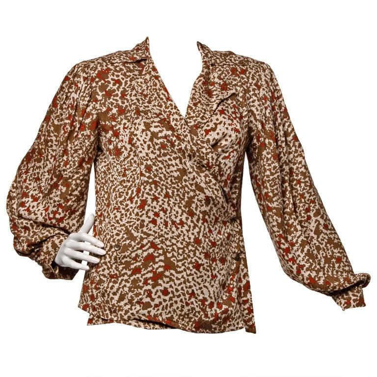 Lanvin Silk Print Wrap Top Blouse Vintage 80s 1980s For Sale