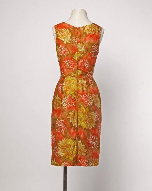 Don Loper Vintage 1950s Floral Print Hourglass Wiggle Dress image 2
