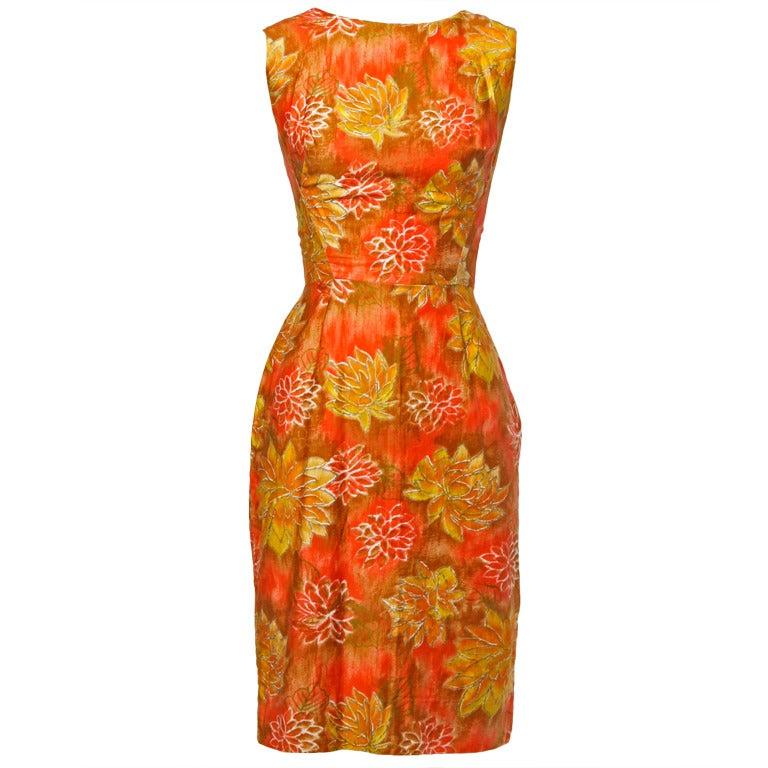 Don Loper Vintage 1950s Floral Print Hourglass Wiggle Dress