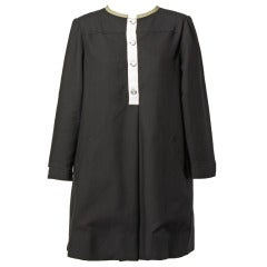 Geoffrey Beene Black + White Shift Coat Dress 1990s 90s