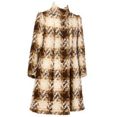 Lanvin 1960s Vintage Wool and Silk Ready-to-Wear Houndstooth Coat