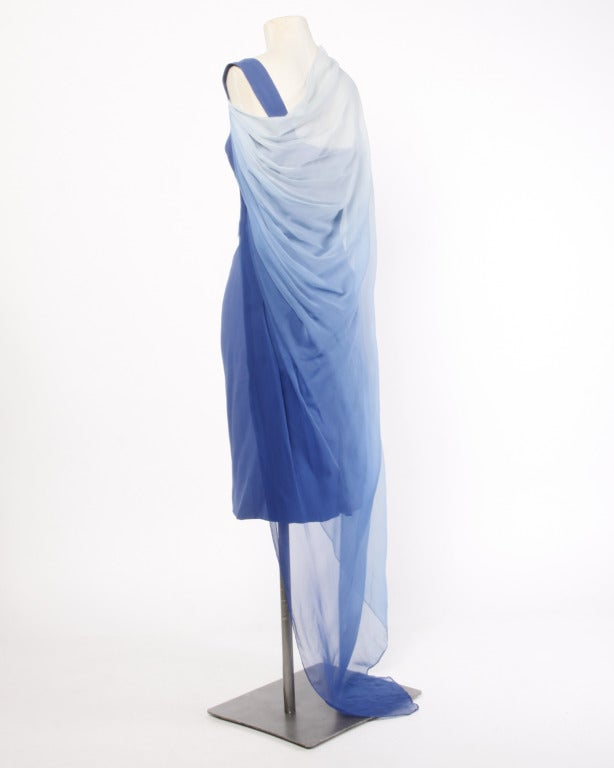 Balestra Rome Couture Vintage 1960s Ombre Silk Chiffon Dress 2