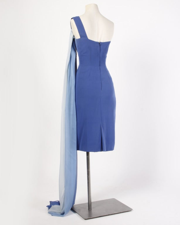 Balestra Rome Couture Vintage 1960s Ombre Silk Chiffon Dress For Sale 1