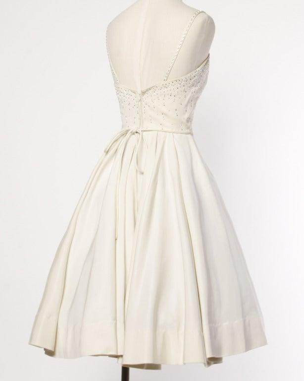 Vintage 1950s 50s Rhinestone + Beaded Off-White Cocktail or Wedding Dress 3