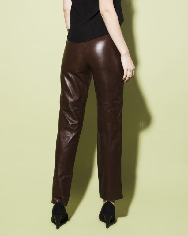 Burberrys 90s 1990s Brown Soft Buttery Leather High Waist Trouser Pants 4