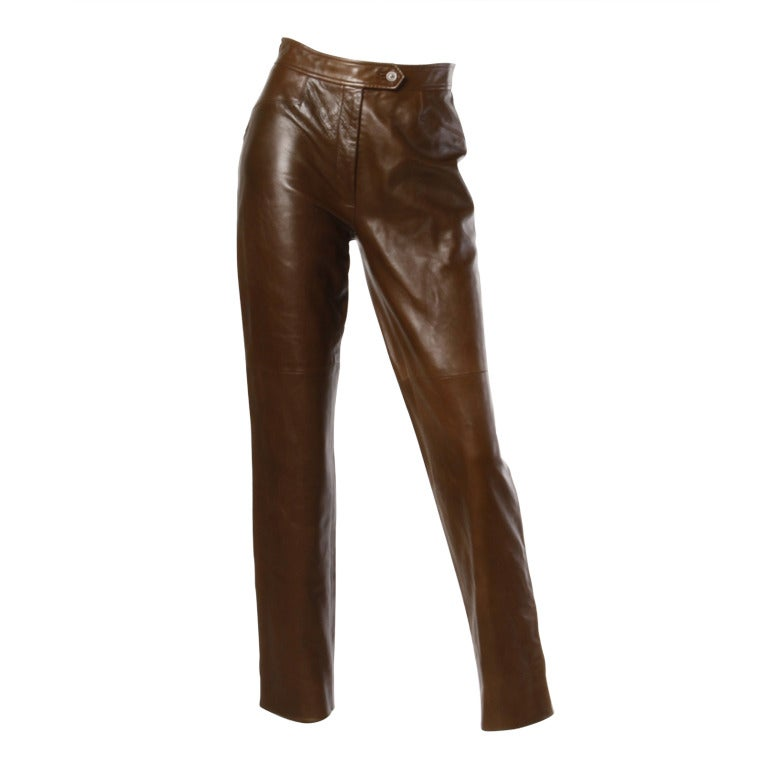 Burberrys 90s 1990s Brown Soft Buttery Leather High Waist Trouser Pants 1