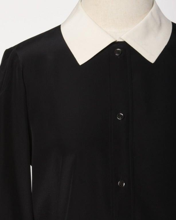 YSL Yves Saint Laurent Rive Gauche Black + White Silk Blouse Top 3