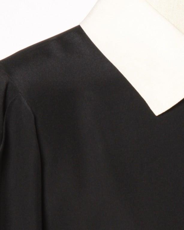 YSL Yves Saint Laurent Rive Gauche Black + White Silk Blouse Top 4