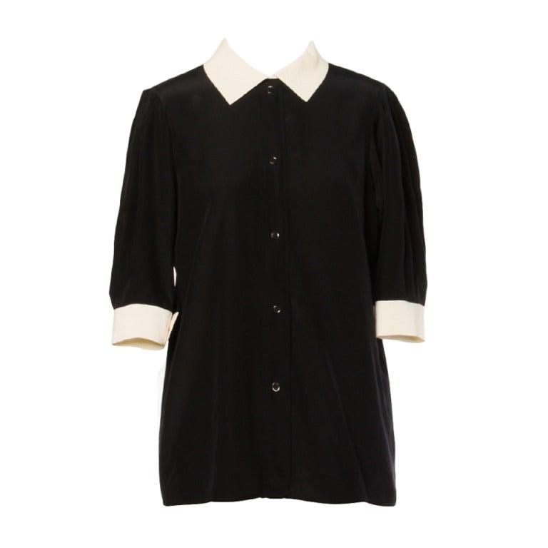 YSL Yves Saint Laurent Rive Gauche Black + White Silk Blouse Top 1