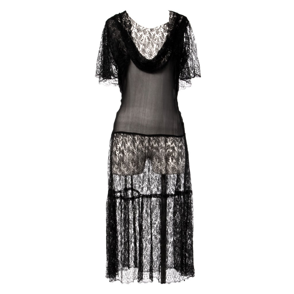 Vintage 1920s 20s Sheer Black Silk Chiffon   Lace Drop Waist ...