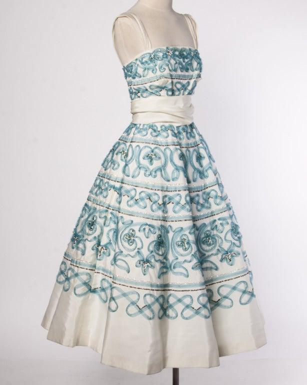 Vintage 1950s 50s Blue Soutache + Metallic Sequin Full Sweep Cocktail Dress 2