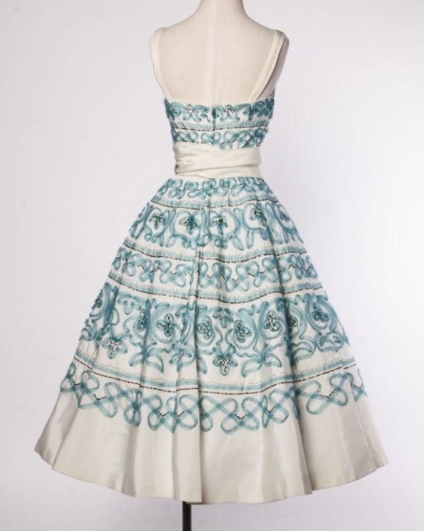 Vintage 1950s 50s Blue Soutache + Metallic Sequin Full Sweep Cocktail Dress 4