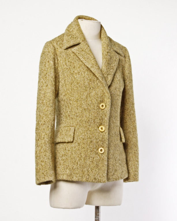 Guy Laroche Collection Mustard Wool Tweed Jacket In Excellent Condition In Sparks, NV