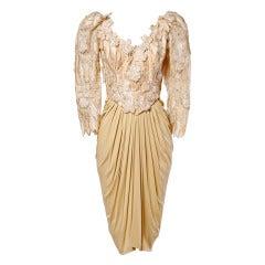 Ruben Panis Vintage 80s 1980s Nude Silk Jersey Metallic Leaves + Flowers Dress