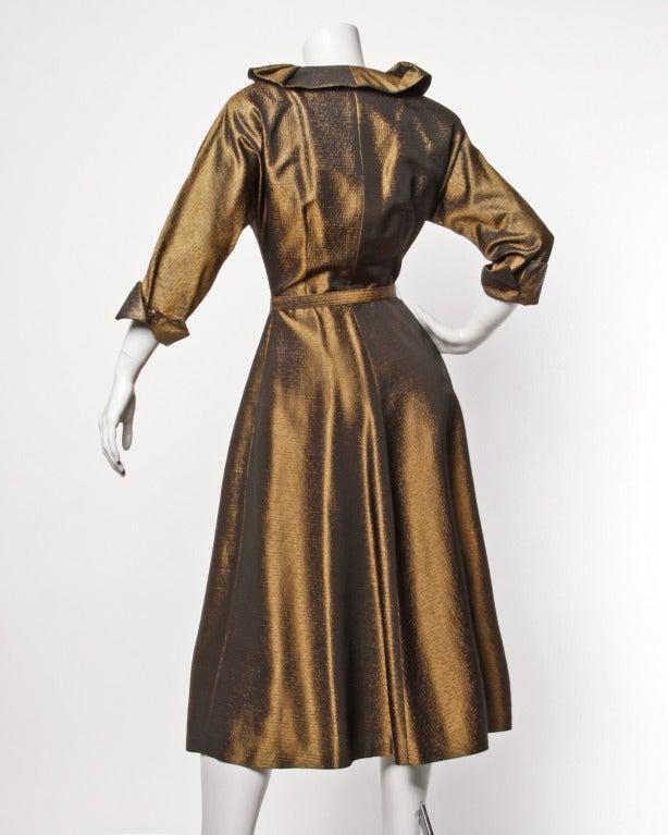 Vintage 1940s 40s Brown Taffeta Formal Dress with Bakelite Buttons + Belt 2