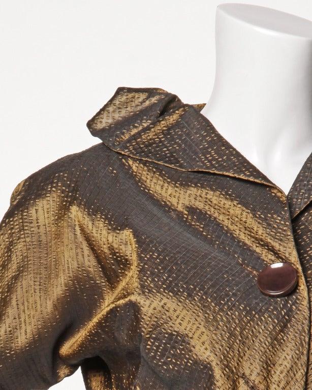 Vintage 1940s 40s Brown Taffeta Formal Dress with Bakelite Buttons + Belt 3