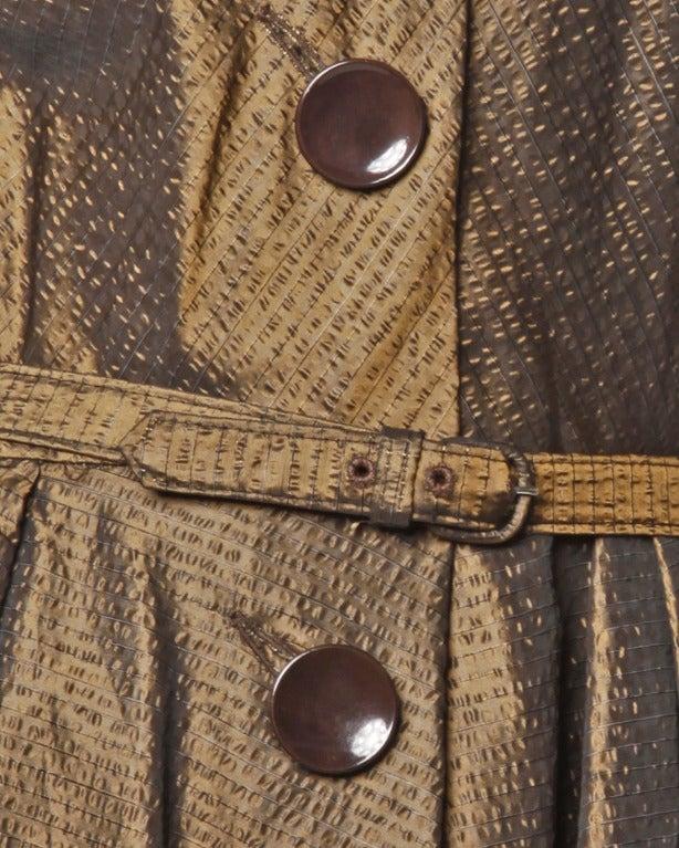 Vintage 1940s 40s Brown Taffeta Formal Dress with Bakelite Buttons + Belt 4