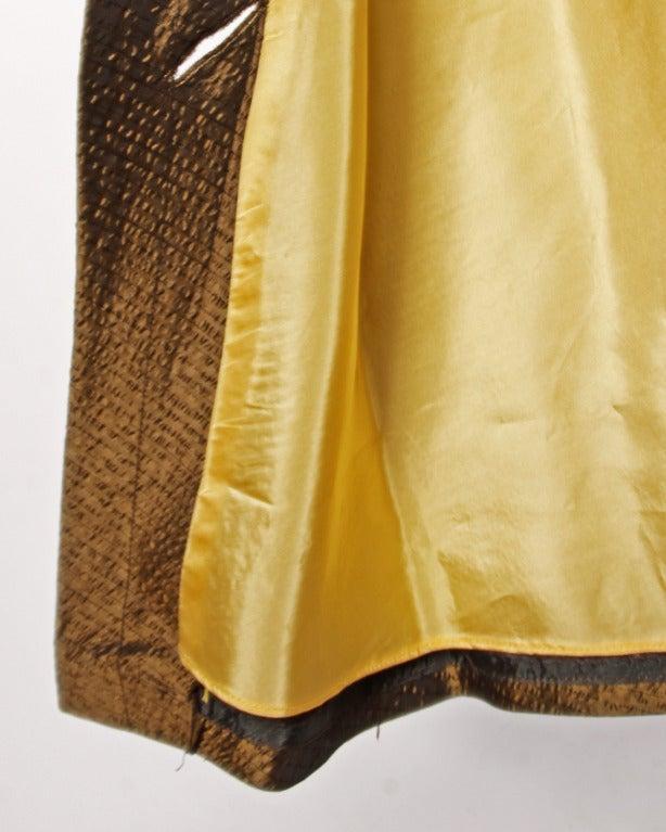 Vintage 1940s 40s Brown Taffeta Formal Dress with Bakelite Buttons + Belt 5