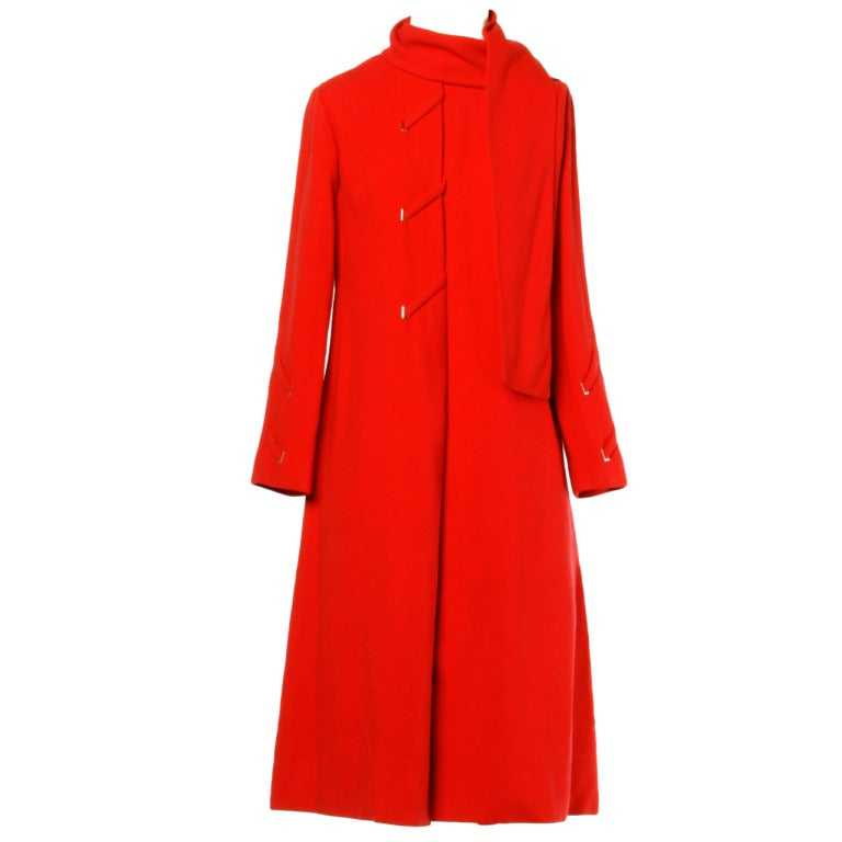 Bill Blass Vintage 1970s Cherry Red Wool Coat Dress With