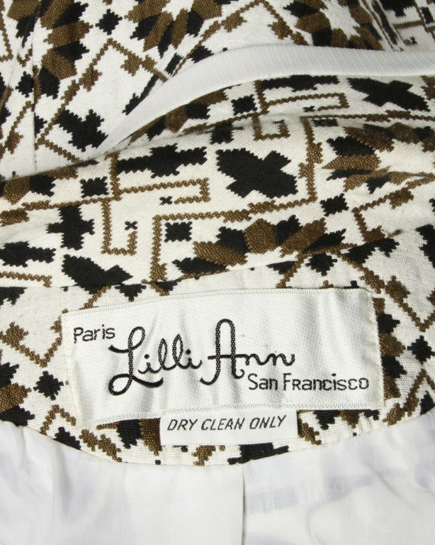 Beige Lilli Ann 70s Vintage Tapestry Coat + Dress Set- 2-Pc Ensemble For Sale