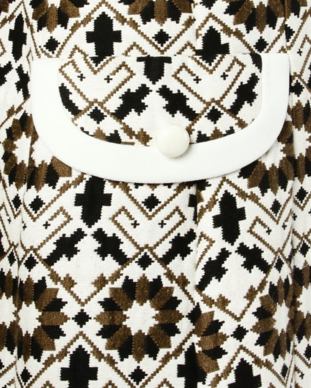 Women's Lilli Ann 70s Vintage Tapestry Coat + Dress Set- 2-Pc Ensemble For Sale