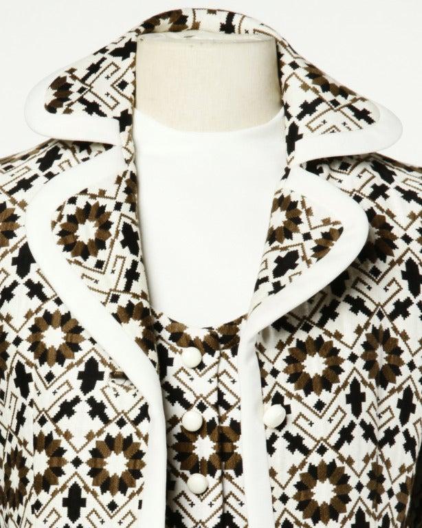 Lilli Ann 70s Vintage Tapestry Coat + Dress Set- 2-Pc Ensemble For Sale 1