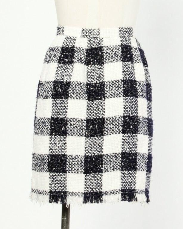 Oscar de la Renta 90s 1990s Plaid Wool Wrap Skirt 3