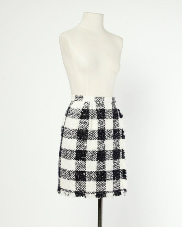 Oscar de la Renta 90s 1990s Plaid Wool Wrap Skirt 4
