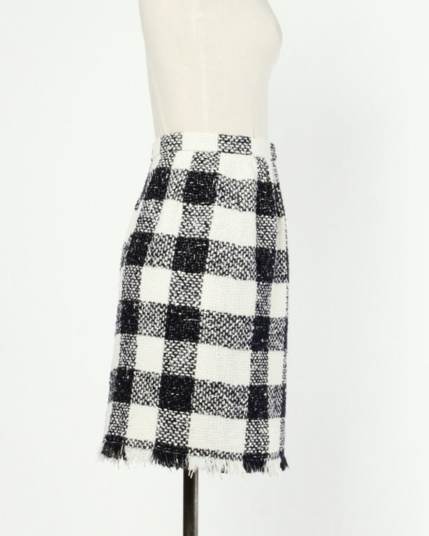 Oscar de la Renta 90s 1990s Plaid Wool Wrap Skirt 5