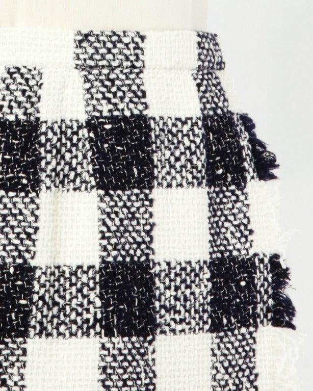 Oscar de la Renta 90s 1990s Plaid Wool Wrap Skirt 8