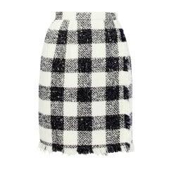 Oscar de la Renta 90s 1990s Plaid Wool Wrap Skirt