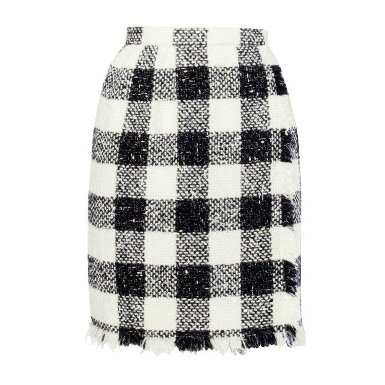 Oscar de la Renta 90s 1990s Plaid Wool Wrap Skirt 1