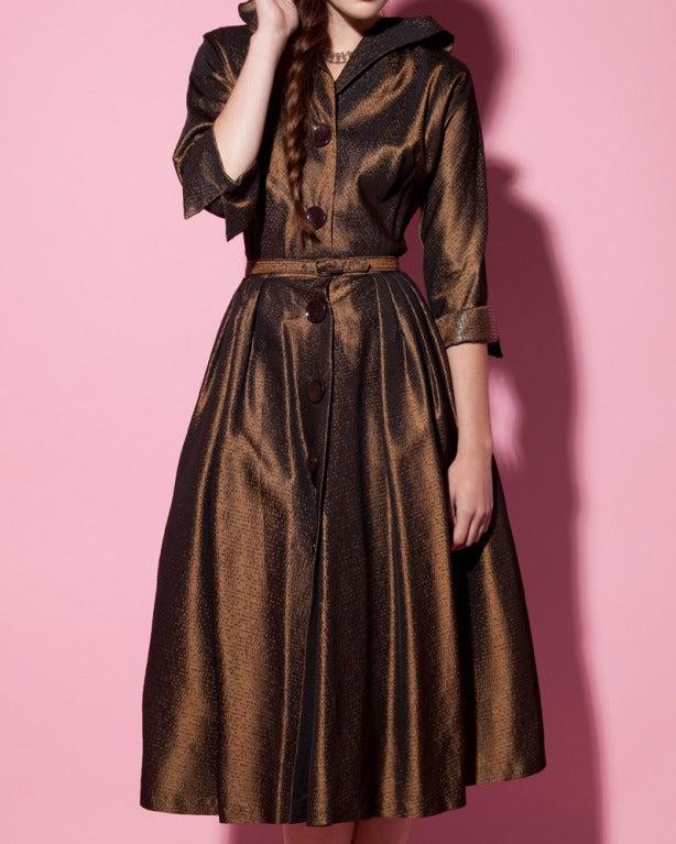Vintage 1940s 40s Brown Taffeta Formal Dress with Bakelite Buttons + Belt 6