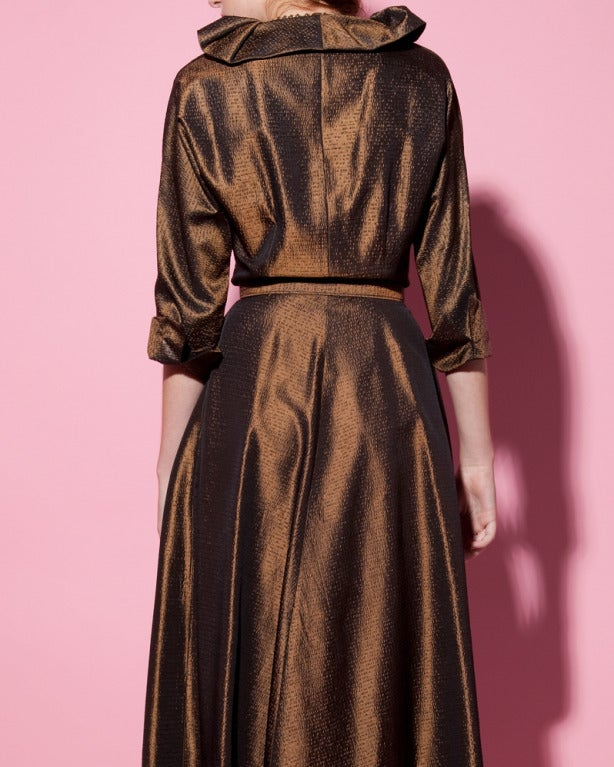 Vintage 1940s 40s Brown Taffeta Formal Dress with Bakelite Buttons + Belt 7