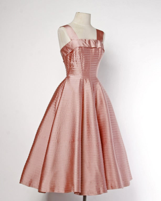 Vintage 1950s 50s Heavy Satin Pin Tuck Party Dress with a Full Sweep 2