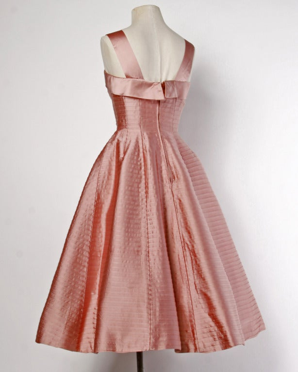 Vintage 1950s 50s Heavy Satin Pin Tuck Party Dress with a Full Sweep 3