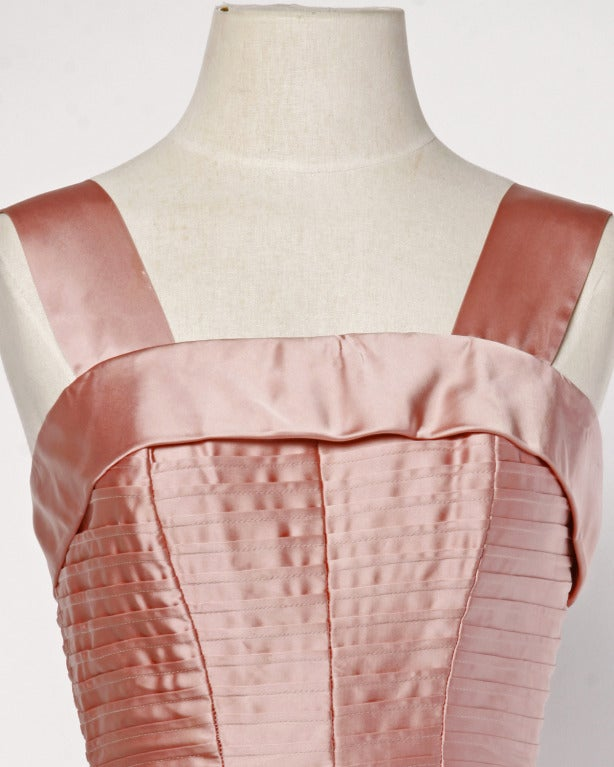 Vintage 1950s 50s Heavy Satin Pin Tuck Party Dress with a Full Sweep 4