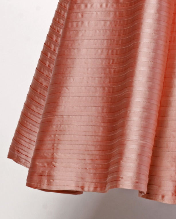 Vintage 1950s 50s Heavy Satin Pin Tuck Party Dress with a Full Sweep 6