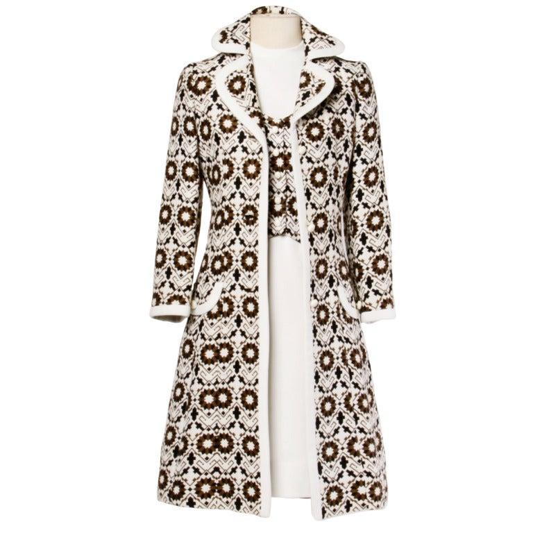 Lilli Ann 70s Vintage Tapestry Coat   Dress Set- 2-Pc Ensemble at ...